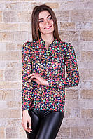 Блуза Весна д/р темно синяя с в мелкую разноцветную розочку шифоновая свободного кроя  на резинке на бёдрах