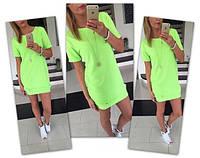 Свободное летнее платье с коротким рукавом