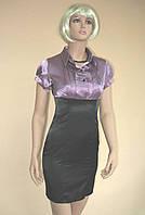 Черно-фиолетовое офисное платье из атласа с завышенной талией
