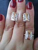 Серебряный набор с накладками золота Светлана