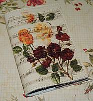 Обложка на паспорт Букет на нотах (натур. кожа)