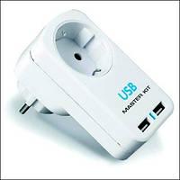Тройник «220 В + 2 USB» KIT MT4012
