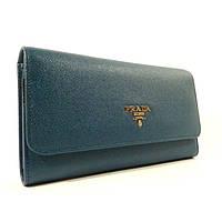 Кожаный кошелек Prada 618 синий, расцветки в наличии