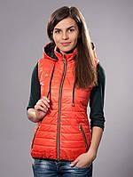 Безрукавка женская молодежная утепленная, цвет морковный