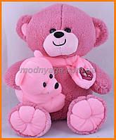 Мишка с медвежонком 35 см сиреневый | Мягкие детские игрушки