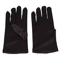 Черные Атласные перчатки, короткие