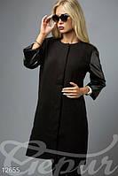 Легкое женское кашемировое пальто прямого кроя с рукавом три четверти на кнопках