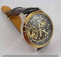 Мужские механические часы скелетон Слава Созвездие GK8002 золотистые с автоподзаводом