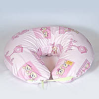 Наволочка к подушке для кормления двойни. Бязь. Мишки в домики, розовые