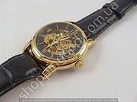 Мужские механические часы скелетон Omega 013307 золотистые с автоподзаводом