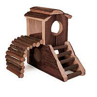 Trixie Mats House домик из натурального дерева для мелких грызунов 17х17х10см