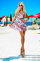 Легкое женское летнее платье из шифона модного А-силуэта без рукавов на талии пояс-резинка