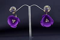 Серьги Летние цветы фиолетовые. Бижутерия