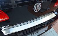 Защитная хром накладка на задний бампер с загибом Volkswagen Passat b7 4D (фольксваген пассат б7 седан) 2010+