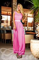 Женское вечернее платье в пол шифоновое со вставками гипюра с завышенной талией на поясе