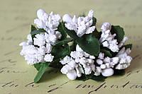 Добавка веточки с тычинками 10-12 шт/уп. белого цвета БОМ