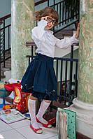 Модная школьная юбка для девочки 520 Синяя