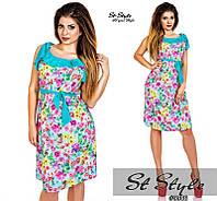 Молодежное летнее платье. Основа- паплин-ликра+шифон.Код-416-М- 48 размер