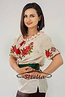 Женская вышиванка Зоряна лен короткий рукав