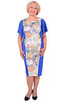 Яркое летнее платье приталенного силуэта с цветочным принтом 3 Д