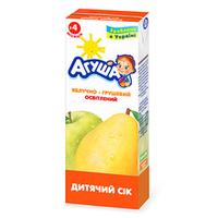 """Сок детский осветленный """"Яблочно-грушевый"""" Агуша, 200мл от 3 мес."""