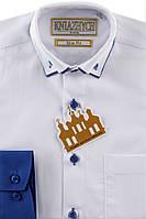 """Праздничная белая рубашка с синими манжетами для мальчика """"Княжич"""""""