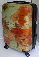 Чемодан дорожный на колесах, из поликарбоната, большой, карта Европы