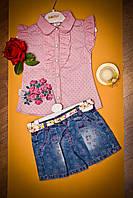 Модный костюм на девочку блуза и юбка-шорты Турция