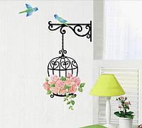 "Наклейка на стену, виниловые наклейки,наклейки на обои ""Клетка с цветами и птички"""