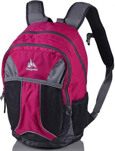 Детский яркий городской рюкзак 18 л. Onepolar (Ванполар) W1513-pink розовый