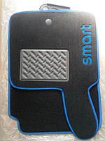 Текстильные коврики на SMART - синий рант