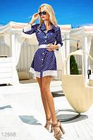 Летнее женское платье А-силуэта в мелкий горошек приталенное с поясом атлас с кружевными вставками