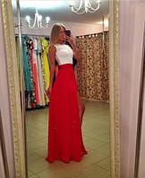 Платье женское в пол с красной юбкой
