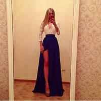 Вечернее платье в пол с синей юбкой