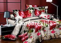 Двуспальное постельное белье Ранфорс 3D  на сером яркие розы