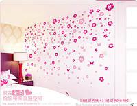 """Наклейка на стену, виниловые, стикеры """"Розовые цветы"""" PINK 108 цветочков и 6 бабочек в наборе (лист20*60)"""