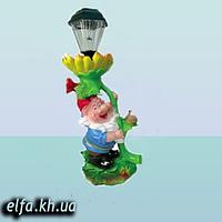 """Садовая фигура для дома и сада Гном """"Мультяшка с подсолнухом и (фонарем)"""" 50 см"""