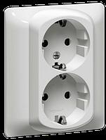 Розетка электрическая 2х2К+З (16А, 250В , винтовые клеммы, немецкий стандарт) в комплекте c лицевой панелью