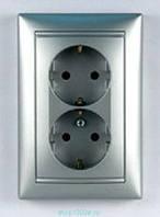 Розетка электрическая 2х2К+З со шторками (16А, 250В , винтовые клеммы, немецкий стандарт) в комплекте с лицево