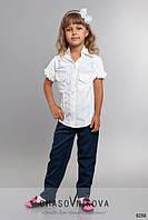 Детские школьные брюки для девочки синий