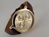 Часы мужские Guardo - Italy, цвет золото, коричневый кожаный ремешок, золотой циферблат