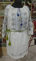 Льняное платье женское с геометрической вышивкой