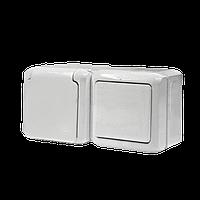 Выключатель + розетка 2К+З со шторками IP44 Legrand Quteo (782318)