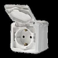 Розетка 2К+З со шторками IP44 белый Legrand Quteo (782321)