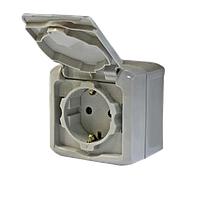 Розетка 2К+З со шторками IP44 серый Legrand Quteo (782351)