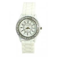 Часы наручные женские Geneva Lux Женева белые со стразами