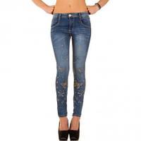 Женские узкие светлосиние джинсы с вышивкой
