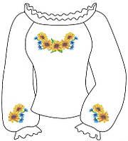 Заготовка вышиванки для девочки 6-12 лет Подсолнухи