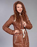 Зимняя женская молодежная куртка-парка.  Цвет светло коричневый.