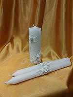 """Набор свечей """"Свадебные кольца"""" в белом цвете."""
